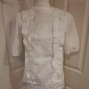 White ruffled collar short puff sleeve blouse xs